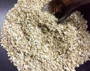 After dry roasting oats.